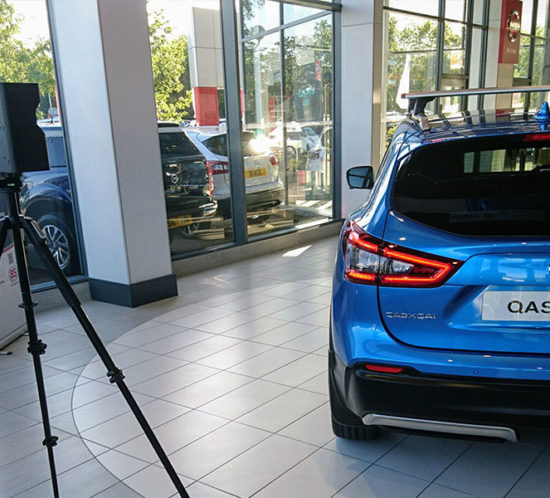 An image of the Matterport camera taking pictures of Nissan Qashqai