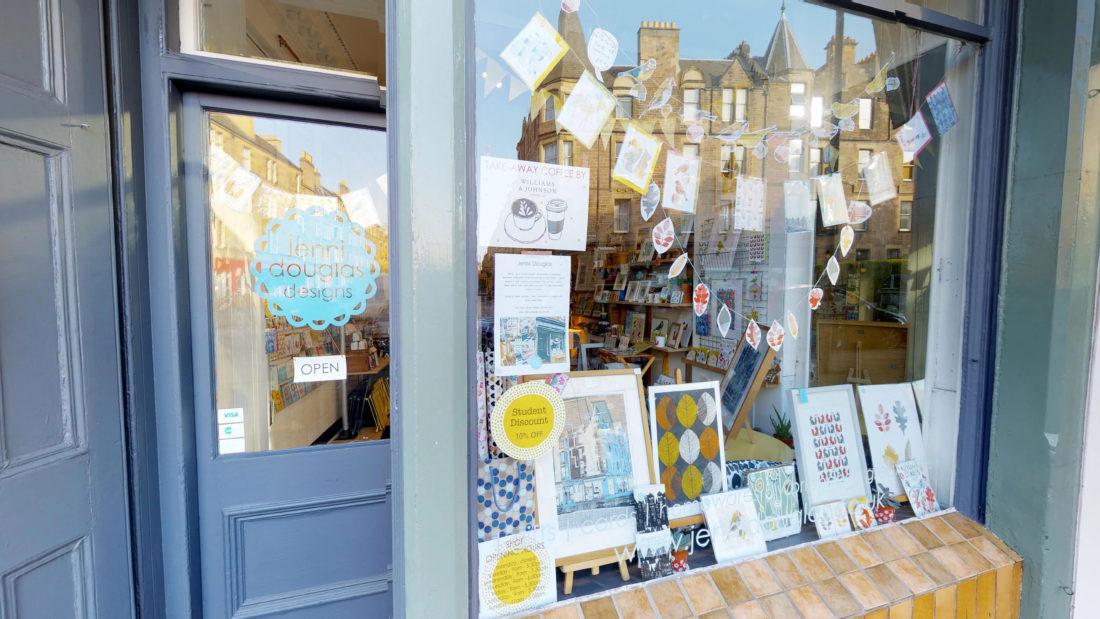 Front of Jenni Douglas Designs' shop